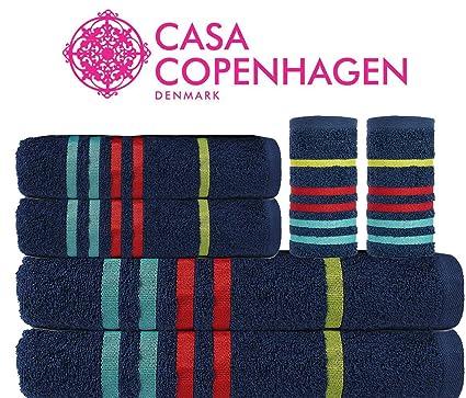 Casa Copenhagen - Juego de toallas de baño de algodón, 475 g/m²,