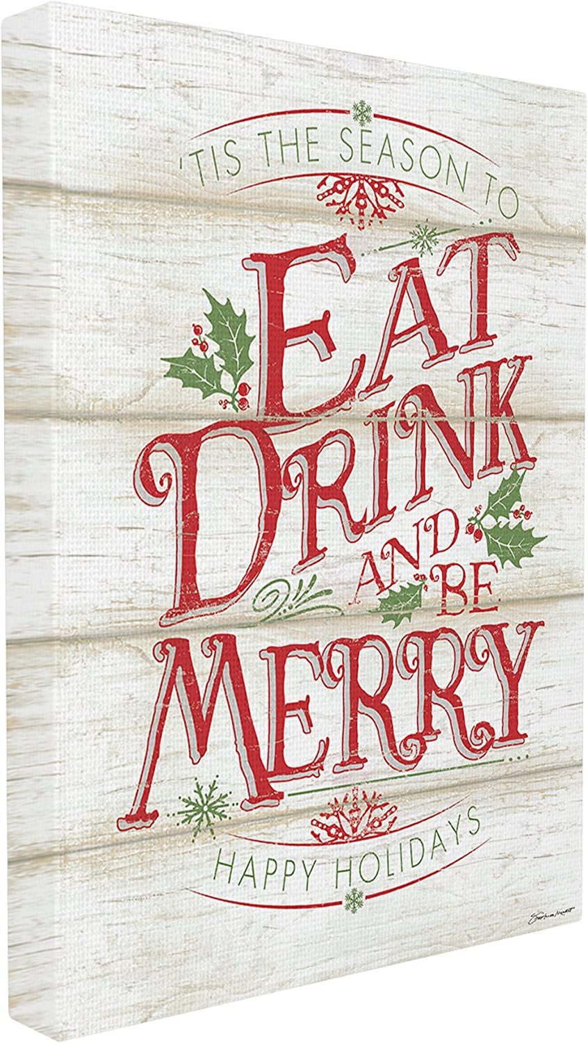 Stupell Industries Eat Drink and Be Merry Canvas Wall Art, 16 x 20, Multi-Color