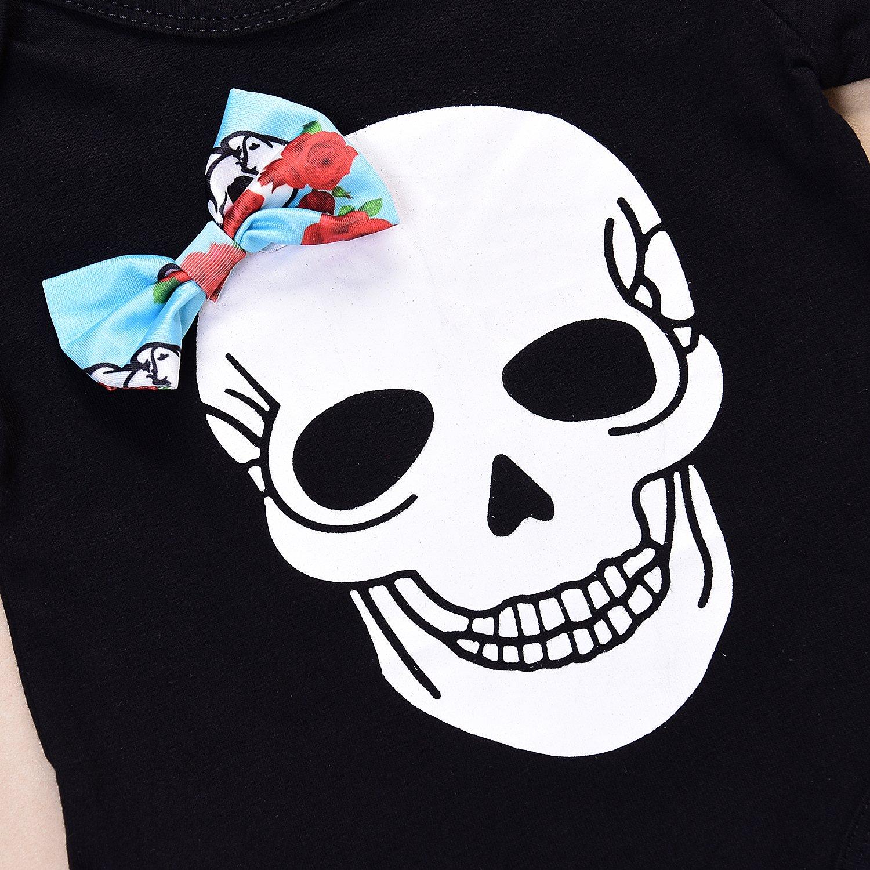 6-12 Months, Black+Blue Newborn Baby Clothes Boys Girls Romper+Pants+Hat+Headband Skull Halloween Outfit Set