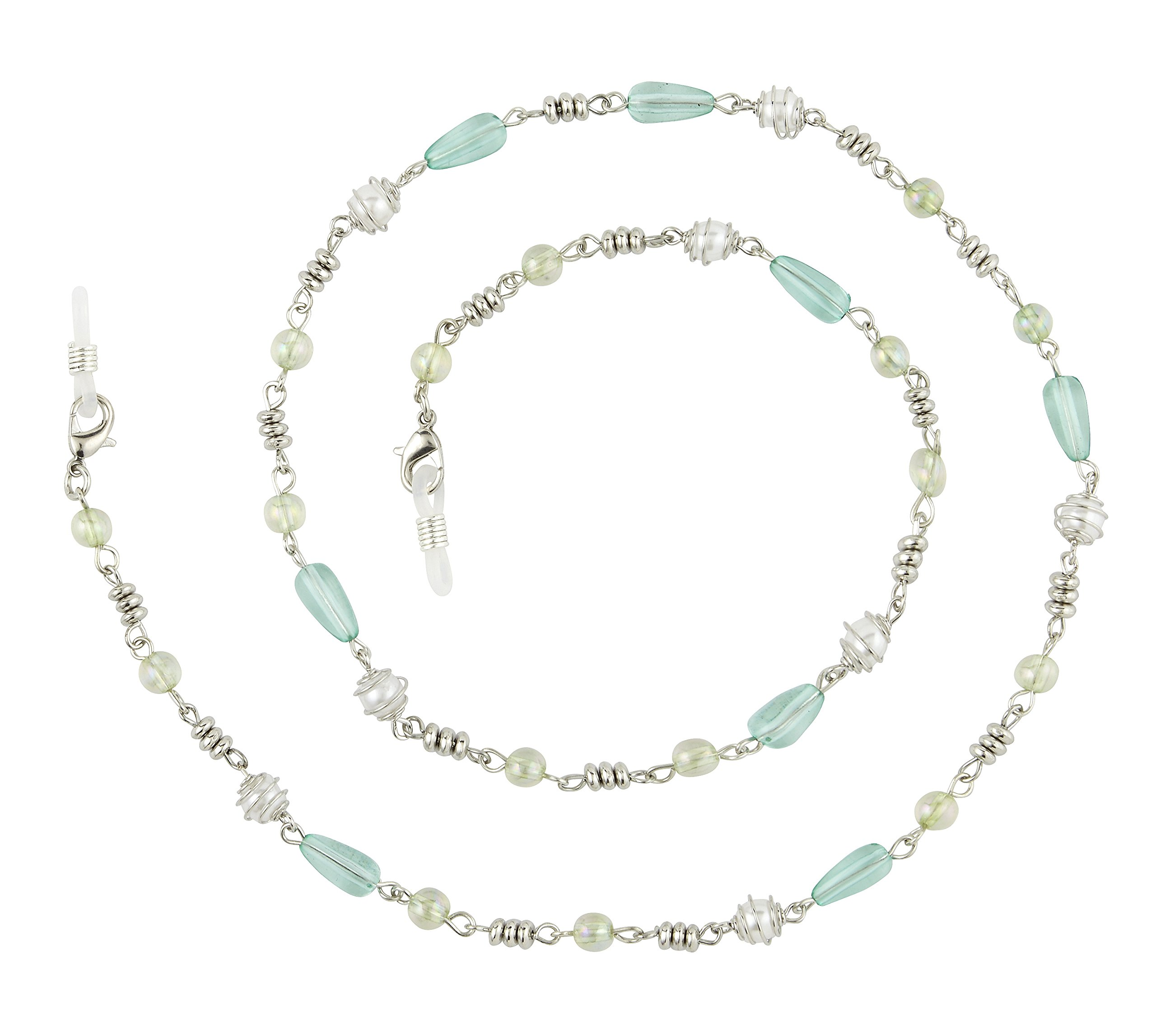 Beaded Eyeglass Chain Holder, Silver Or Gold Fashion Lanyard Necklace, Adella Aqua