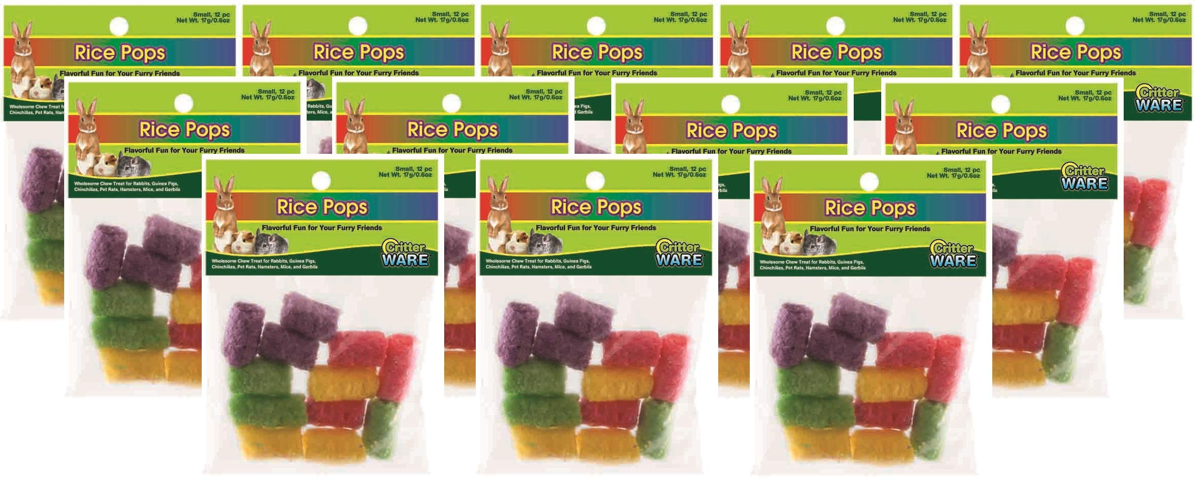 Ware Manufacturing 12 Pack of Small Rice Pops Chew Treats for Small Pets, 12 Pops Per Pack