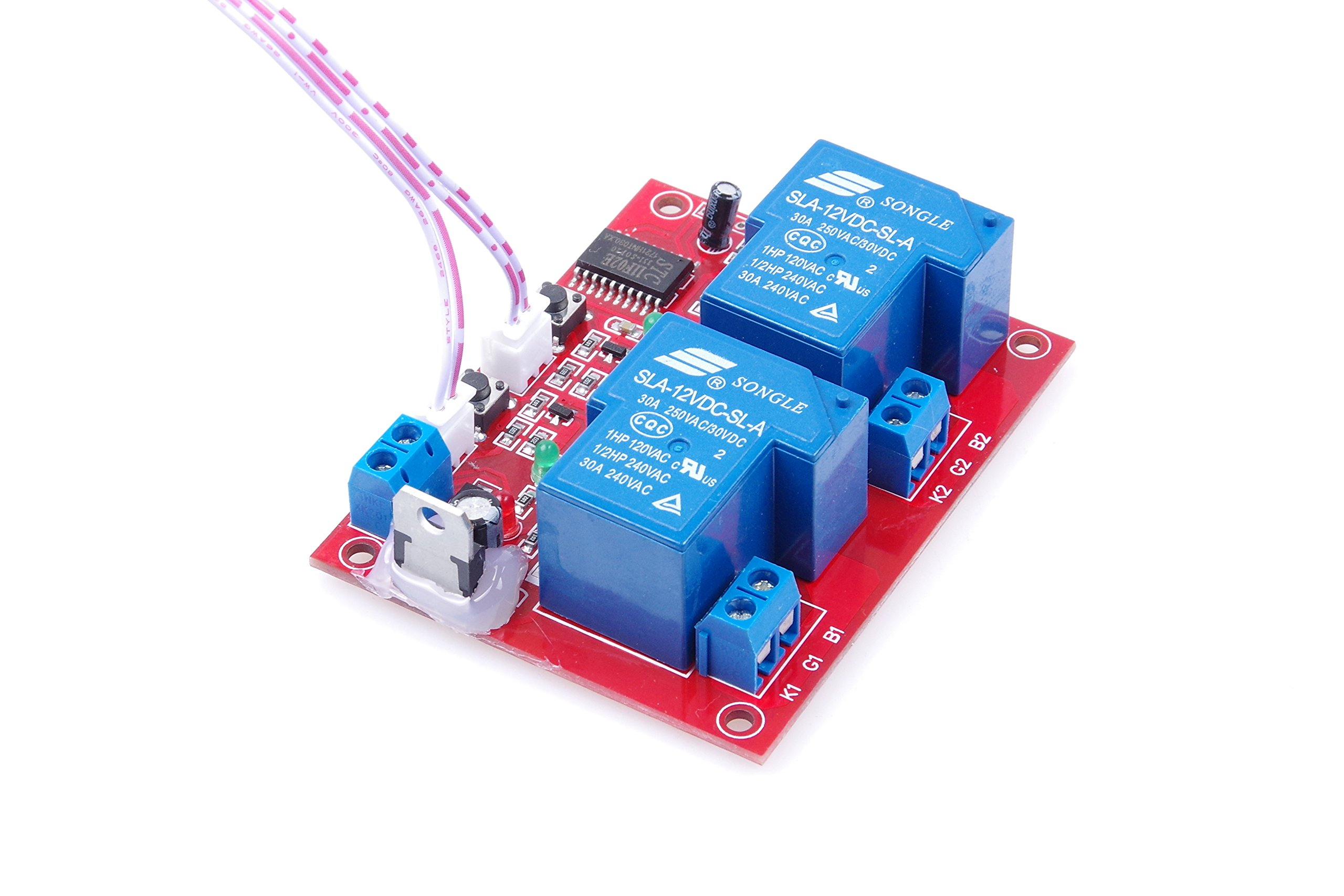 KNACRO DC 12V 2-Channel Self-latching Relay Module One-Button Bistable Switch One-button Start/Stop High-level Trigger