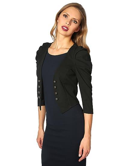 KRISP Women Ruched 3/4 Sleeve Military Tailored Shrug Blazer Jacket (Black [5174