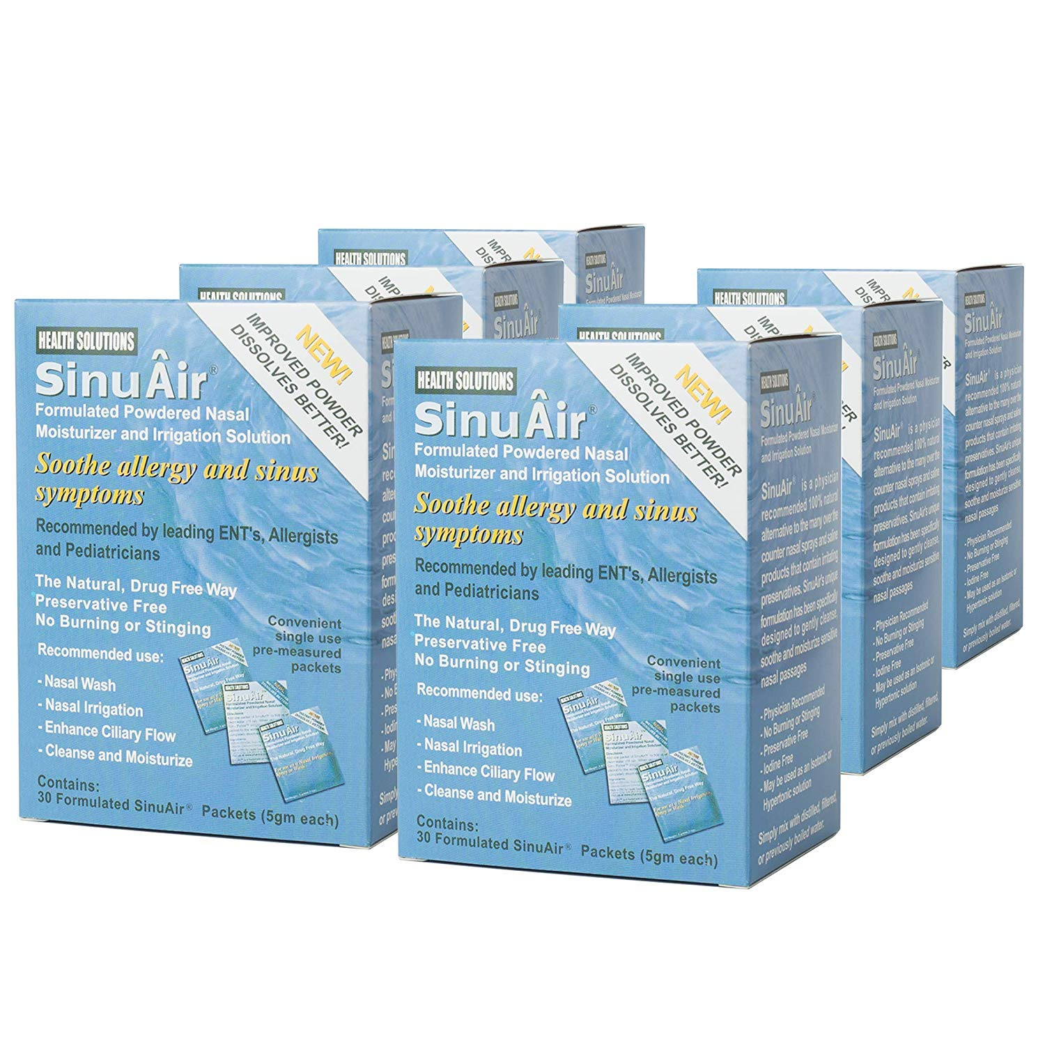 SinuAir Powdered Saline 30 Convenient Packets (6 Boxes)