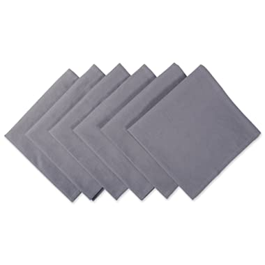 DII 100% Cotton Cloth Napkins, Oversized 20x20  Dinner Napkins, For Basic Everyday Use, Banquets, Weddings, Events, or Family Gatherings - Set of 6, Gray