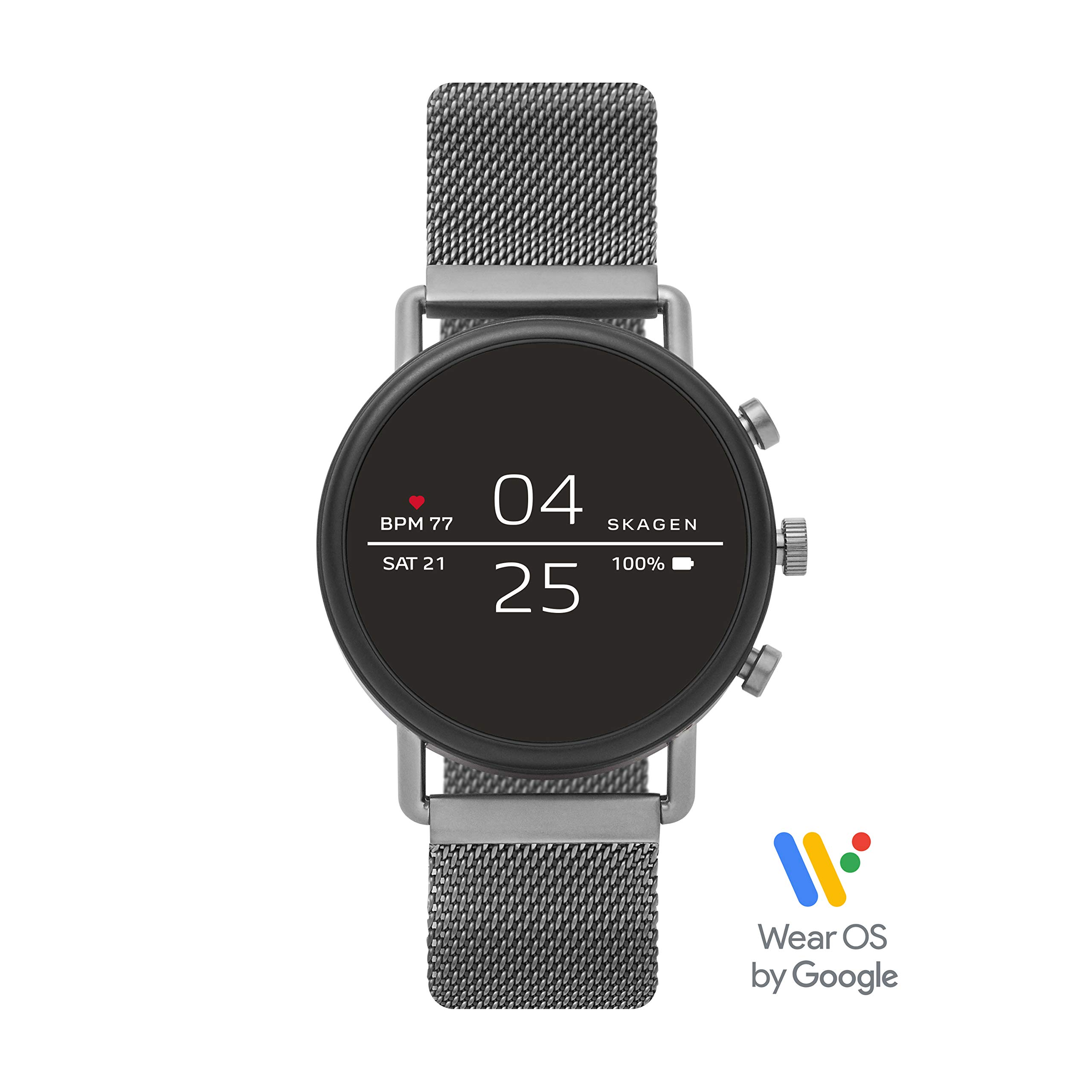 Skagen Connected Falster 2 Stainless Steel Magnetic Mesh Touchscreen Smartwatch, Color: Gunmetal Grey (Model: SKT5105)