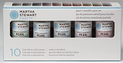 PlaidCraft Martha Stewart Pearl Metallic Acrylic Craft Paint Set