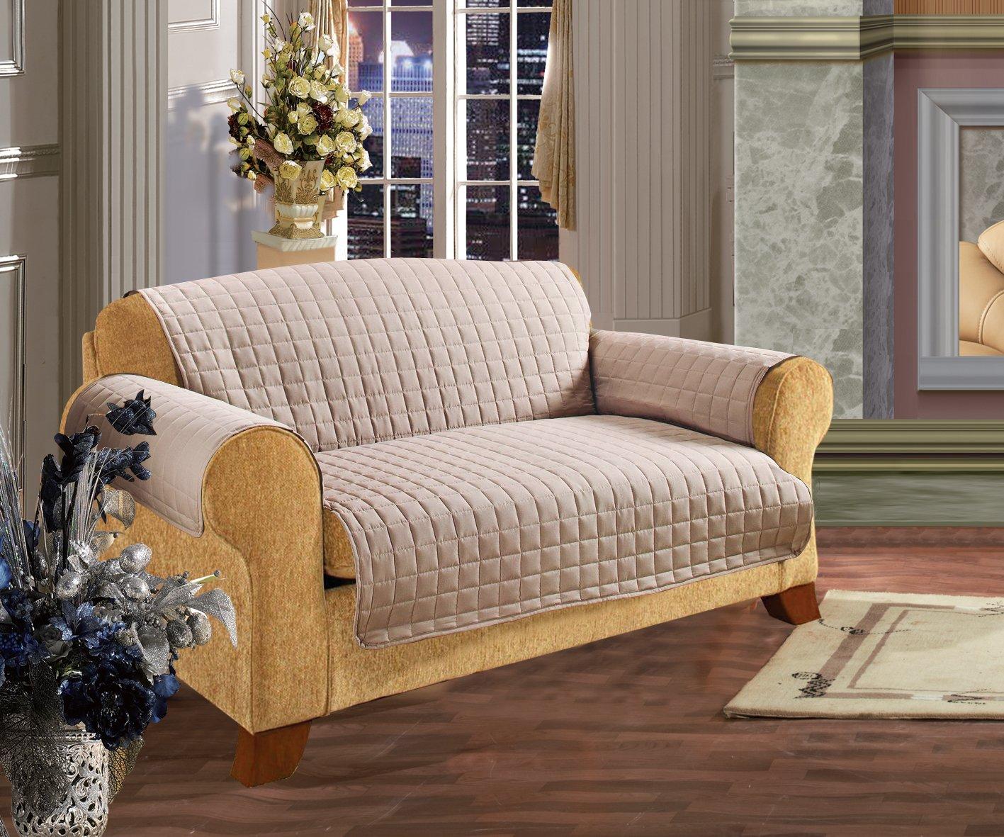 Elegance Linen Quilted Pet Dog Children Kids Furniture Protector Microfiber Slip Cover Sofa, Natural Natural Sofa1