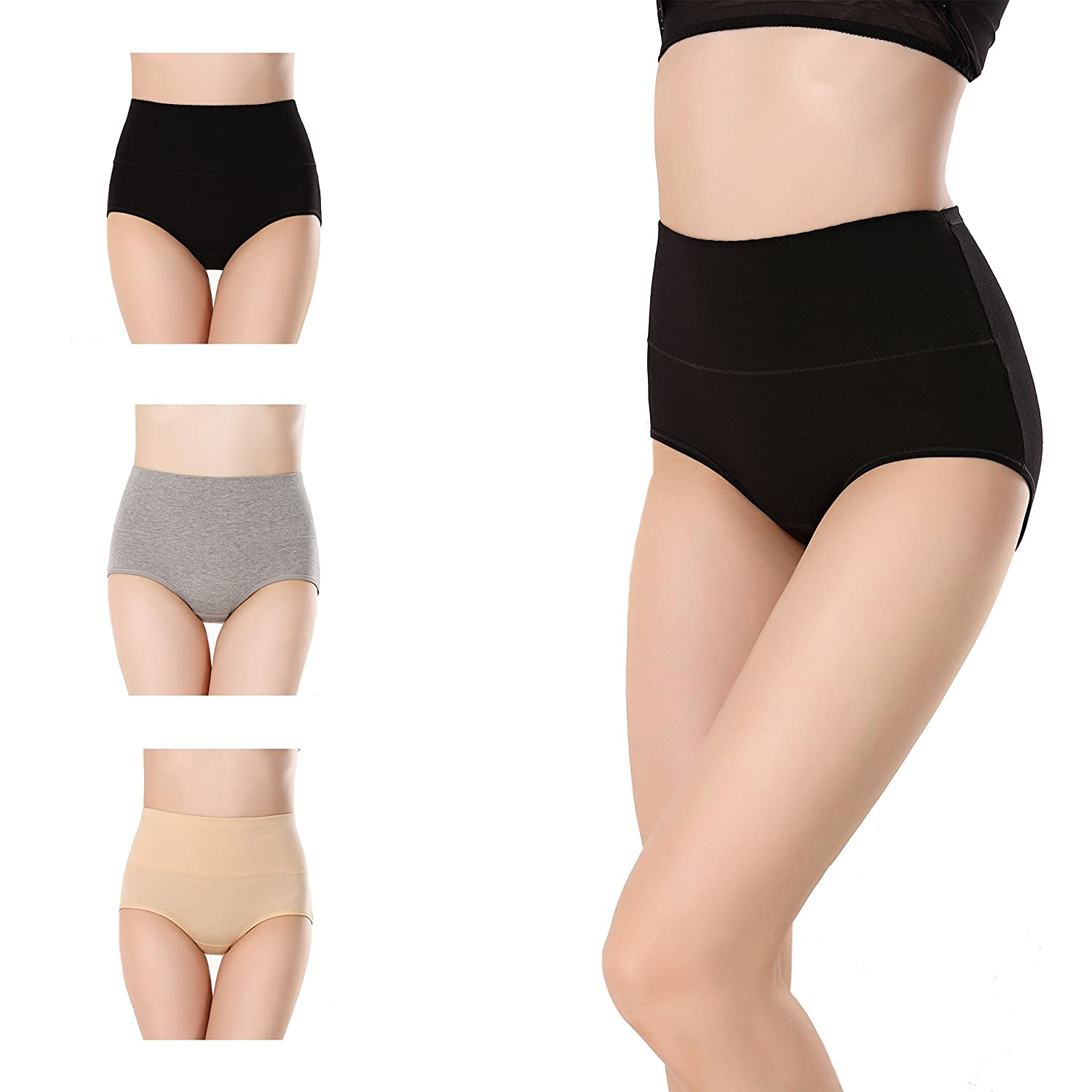cc7e4a93c509 Women's High Waist Solid Color Tummy Control Cotton Briefs No Muffin Top  Underwear Stretch Panties Underpants