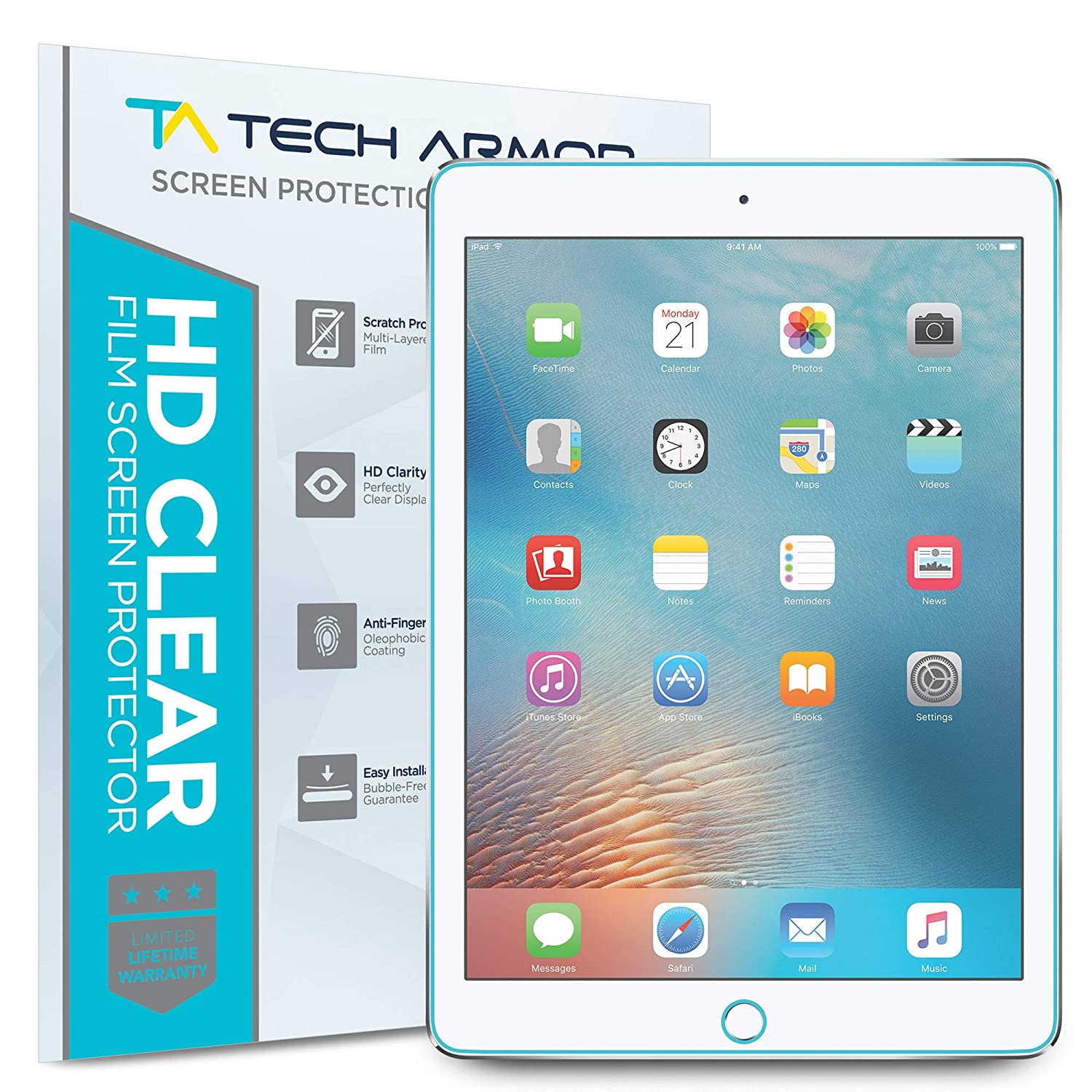online retailer 32df6 f41b2 Tech Armor Anti-Glare/Anti-Fingerprint Film Screen Protector for Apple iPad  Pro 9.7-inch (2016/2017) [2-Pack]