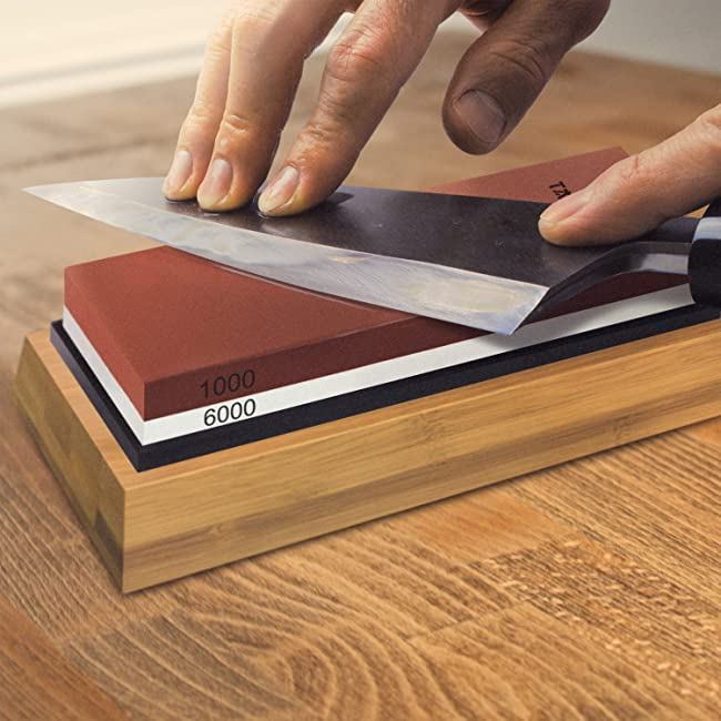 Tatara Sharpening Stone 1000 & 6000 Grit - Double Sided Japanese Whetstone Set For Knives With Non-Slip Bamboo Base and Free Angle Guide