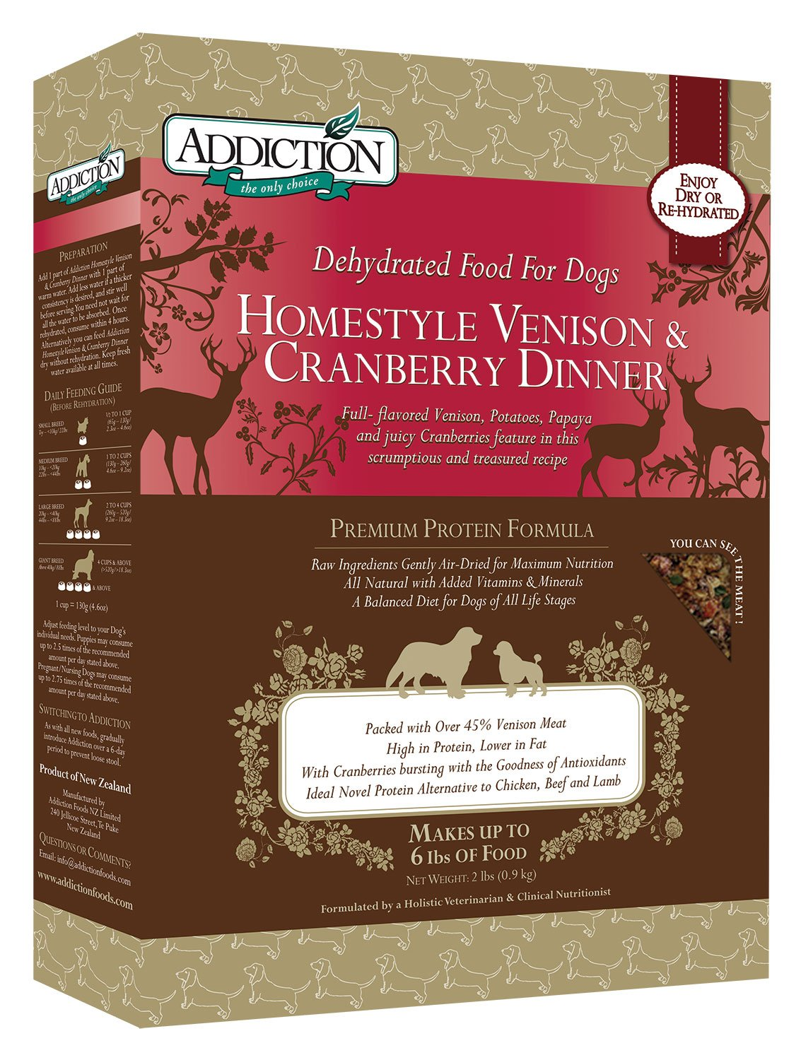 Addiction Homestyle Venison & Cranberry Filler Free Dehydrated Dog Food, 2 Lb. by Addiction Pet Foods