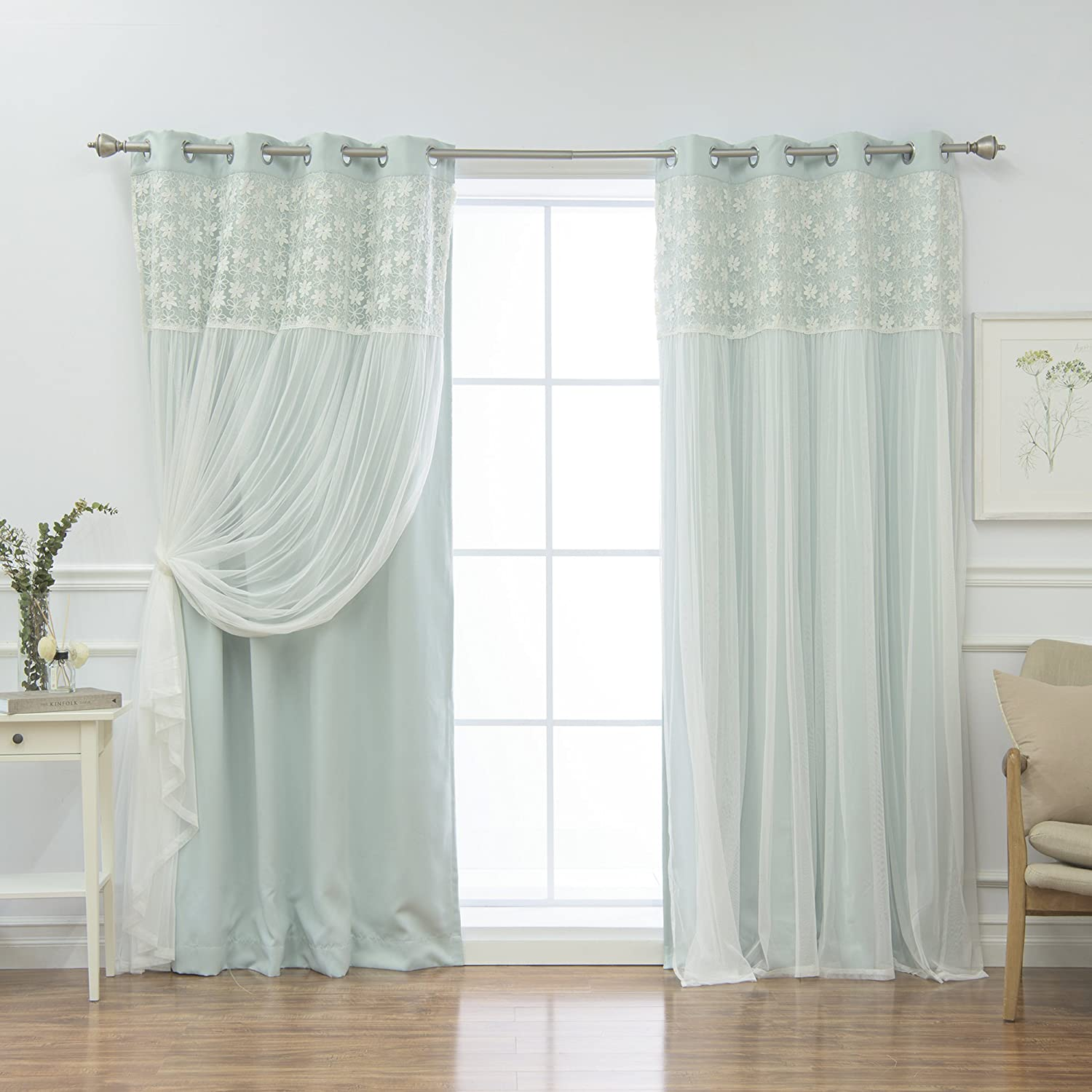 Best Home Fashion Floral Lace Overlay Thermal Insulated Blackout Curtains - Stainless Steel Nickel Grommet Top - Mint