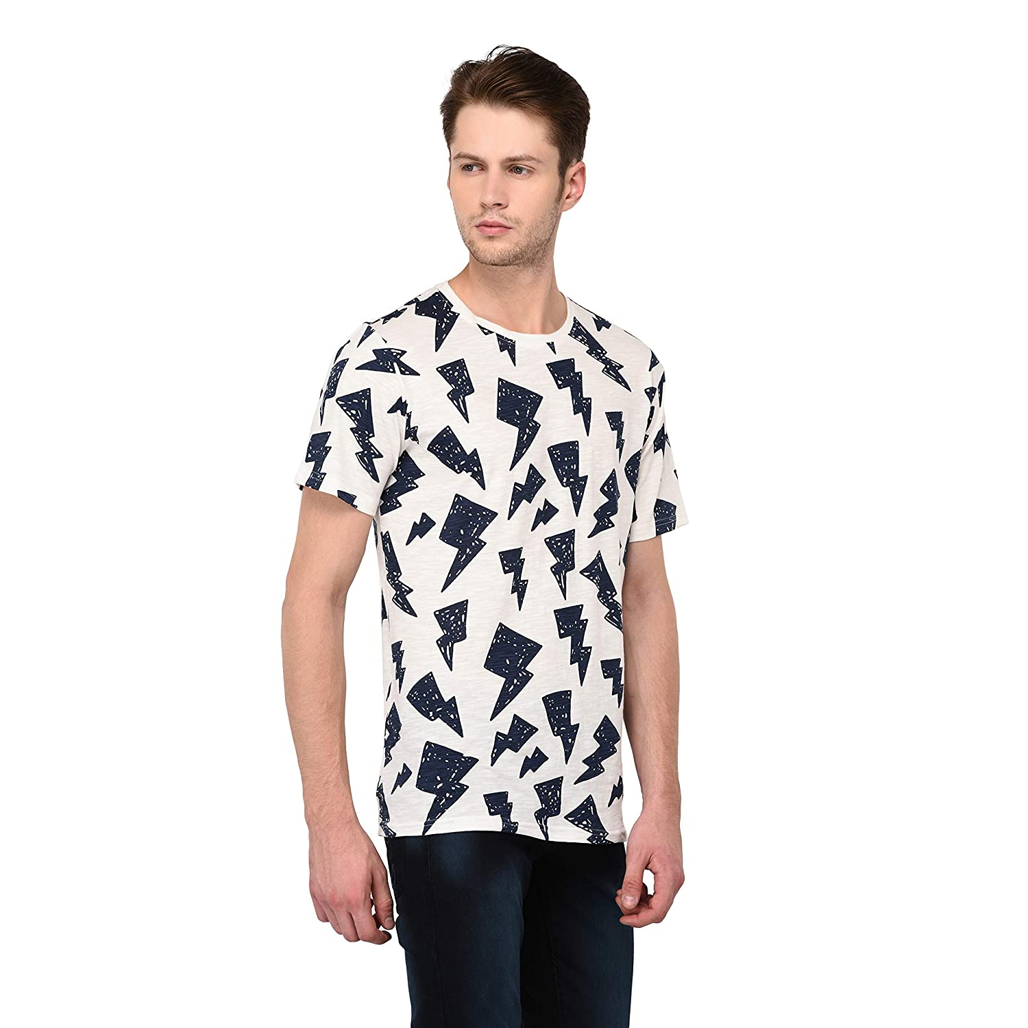 21cff8a1b47 Jane Ashe Men s Off-White Cotton Round Neck Half Sleeve T-Shirt  Amazon.in   Clothing   Accessories