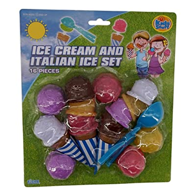 Kids Stuff Ice Cream Scoop Toy Set (16 Pieces) Assorted Colors Play Kitchen Accessory: Toys & Games