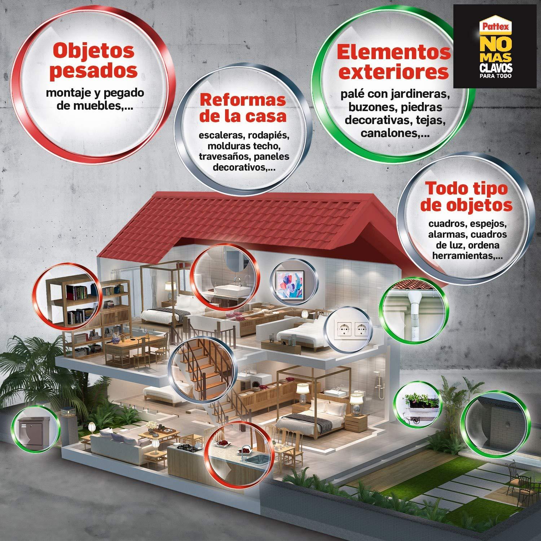 Pattex No Mas Clavos Para Todo High Tack adhesivo de montaje resistente a temperaturas extremas, pegamento fuerte para superficies húmedas, adhesivo ...