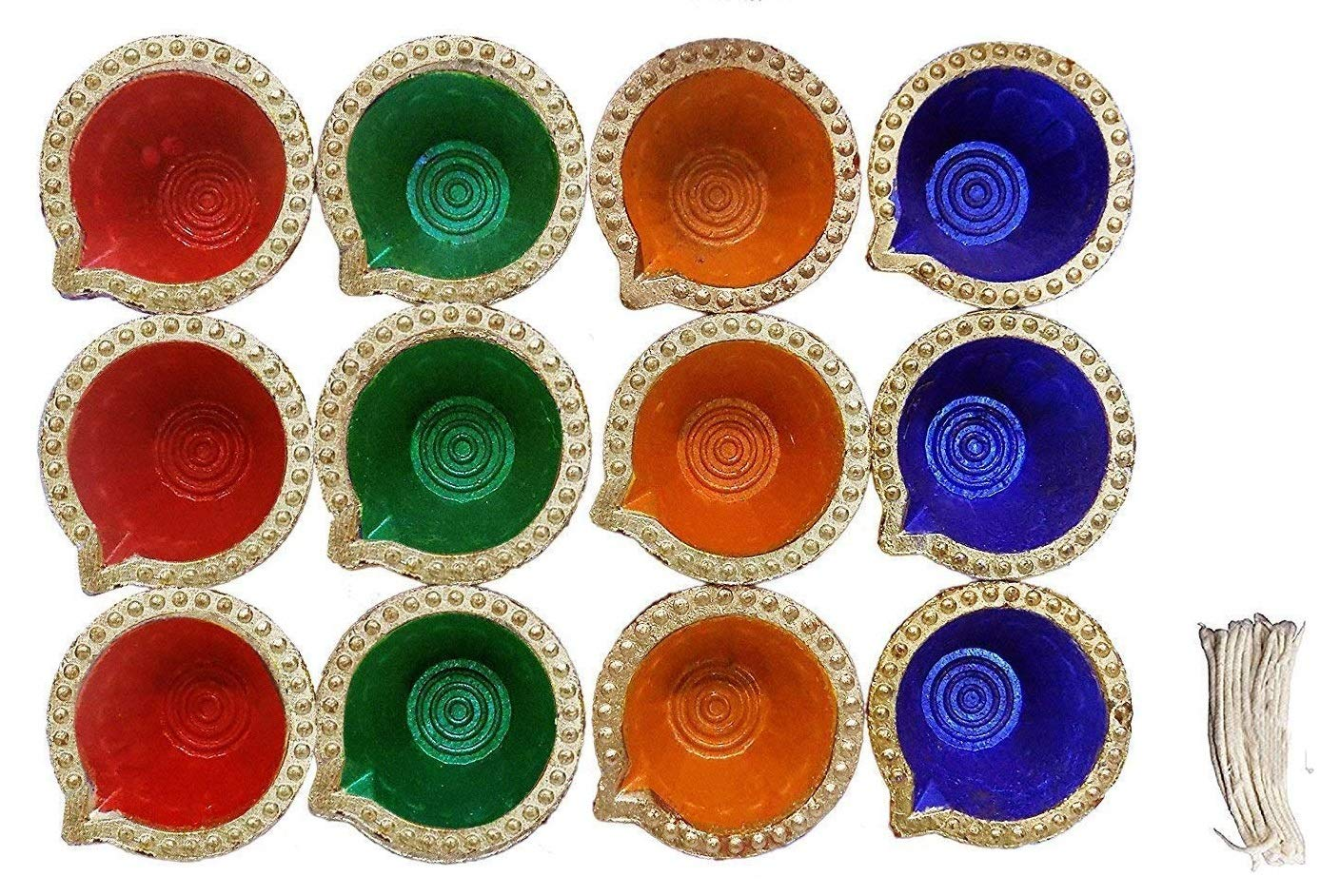 12 Pc Set of Diwali Gift/Diwali Decorations Diwali Diya. (Assorted Colors) Handmade Natural Earthen Oil Lamp/Welcome Traditional Diyas with Cotton Wicks Batti. Diwali Earthen Lamp. Oil lamp