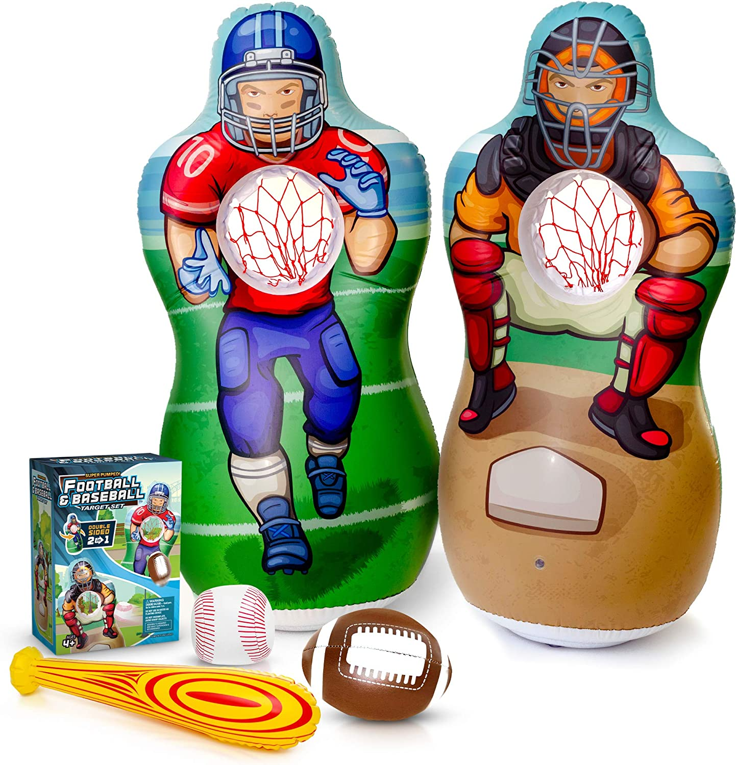 Super Pumped! Inflatable 2-In-1 Baseball & Football Target Set   Blow Up Toys with Soft Football, Baseball & Inflatable Bat   Fun Games for Indoor, Outdoor, Backyard & Party Favor   Inflates to 5 Feet