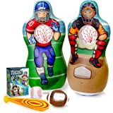 Super Pumped! Inflatable Double-Sided Baseball & Football Target Set | Blow Up Toy with Soft Football, Baseball & Inflatable