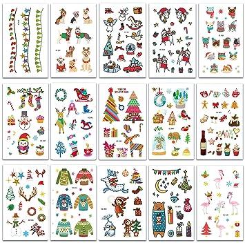 Navidad Tatuajes Temporales, Navidad Pegatinas Impermeables Tattoo Tatuajes Falsos Pegatinas para Infantiles Regalo para Fiesta de Cumpleaños