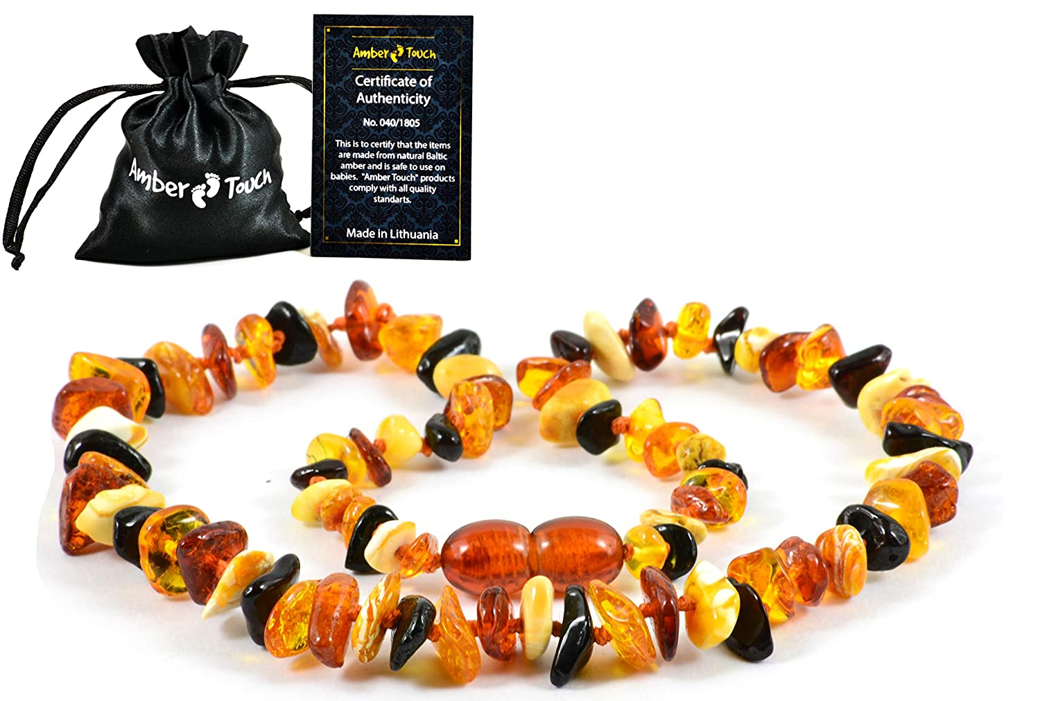 Drooling and Teething Pain Reducing Natural Remedy Amber Teething Necklace for Babies Anti Inflammatory Perfect Baby Shower Gift Amber-Touch Made of Highest Quality Certified Baltic Amber