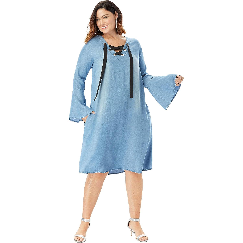 Roamans Women\'s Plus Size Denim Trapeze Dress with Lace-Up ...