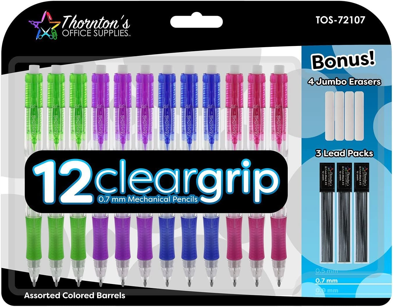 Thornton's Office Supplies ClearGrip Mechanical Pencil Starter Set 0.7mm Assorted Colors Pack of 12 for Smooth writing