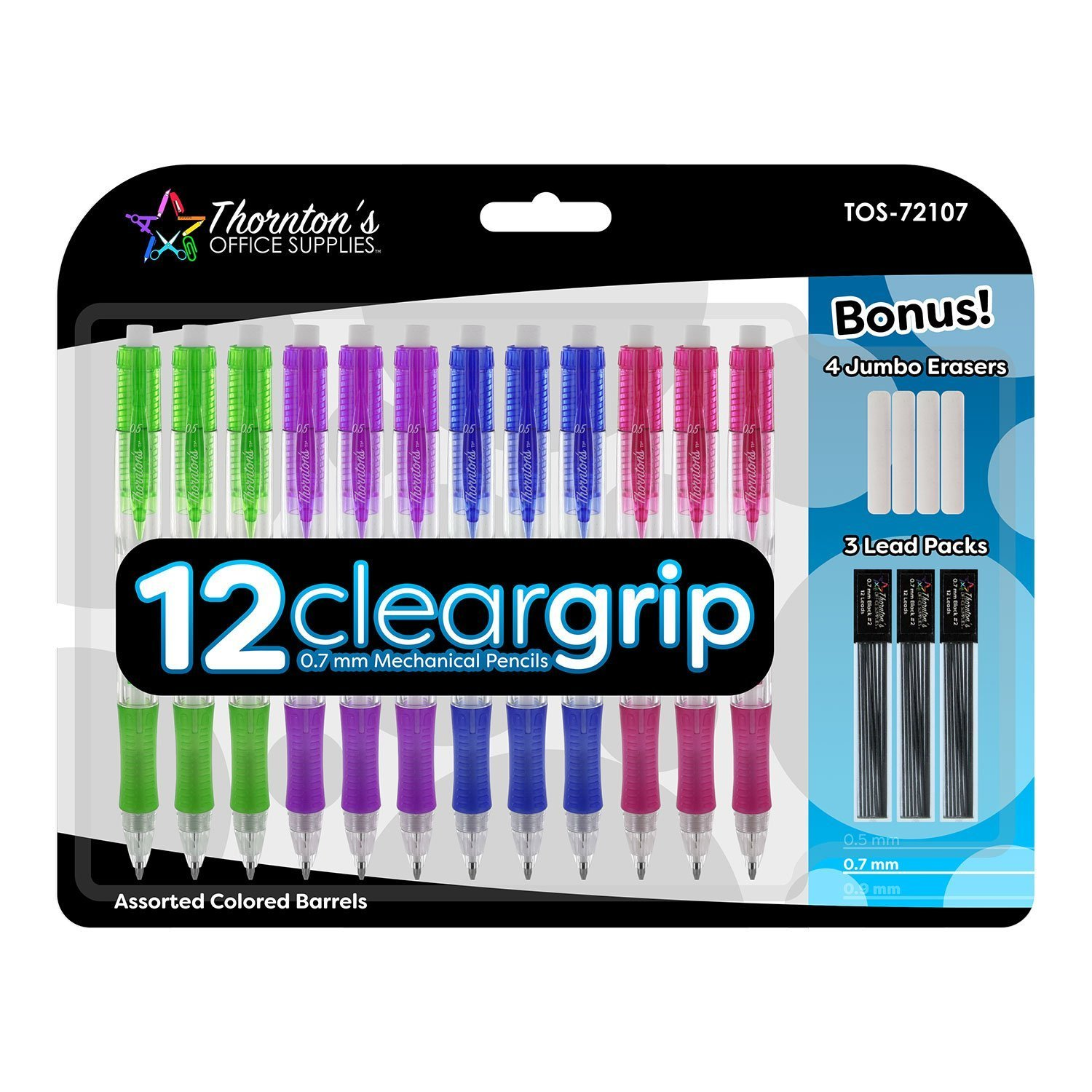 Thornton's Office Supplies ClearGrip Mechanical Pencil Starter Set, 0.7mm, Assorted Colors, Pack of 12