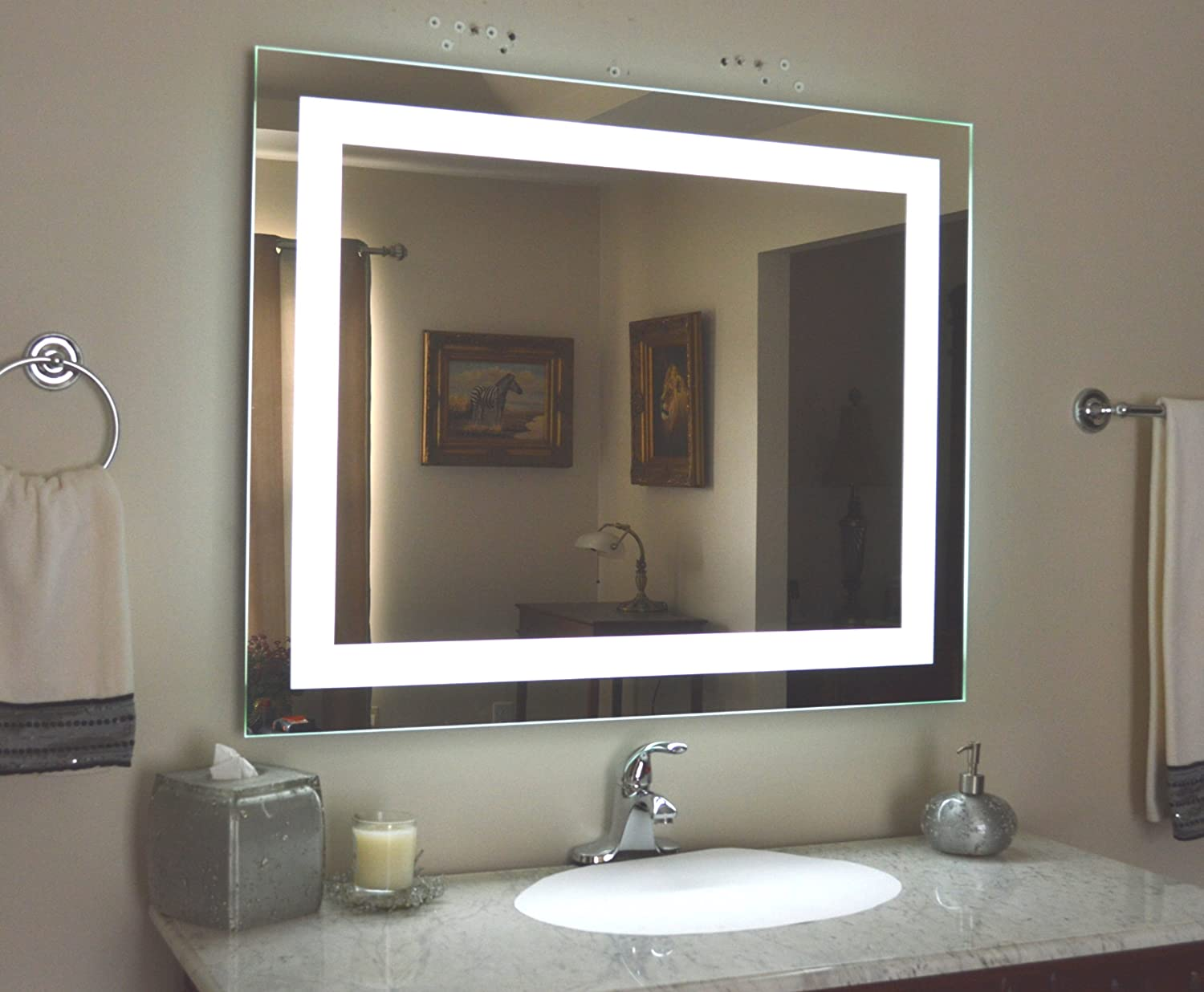 Bathroom Mirrors With Led Lights. Amazon Com Wall Mounted Lighted Vanity Mirror Led Mam84032 Commercial Grade 40 Home Kitchen