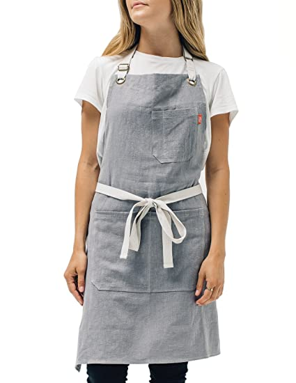linen kitchen apron by abbot fjord mens and womens linen bib apron adjustable with - Kitchen Apron