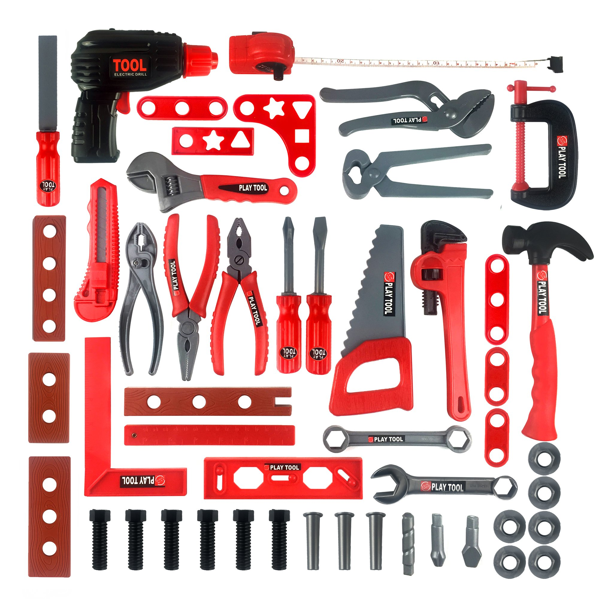 KIDAMI Deluxe 52 Piece Kids Toy Tool Set, Construction Tool Sets Pretend Play Toys with a Handy Storage Bag by KIDAMI (Image #1)