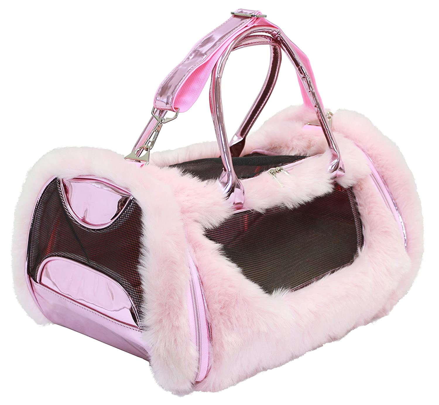Pink American Jewel Faux Fur and Iridescent Pet Purse Carrier Bag Pink
