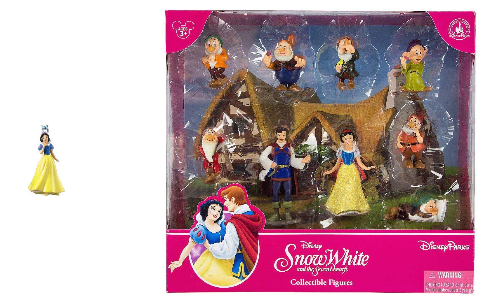 Snow White and The Seven Dwarfs Figurine Playset Play Set Cake Topper Featuring Snow White, The Prince, Bashful, Doc, Dopey, Grumpy, Happy, Sleepy, and Sneezy with Keychain (Snow White)