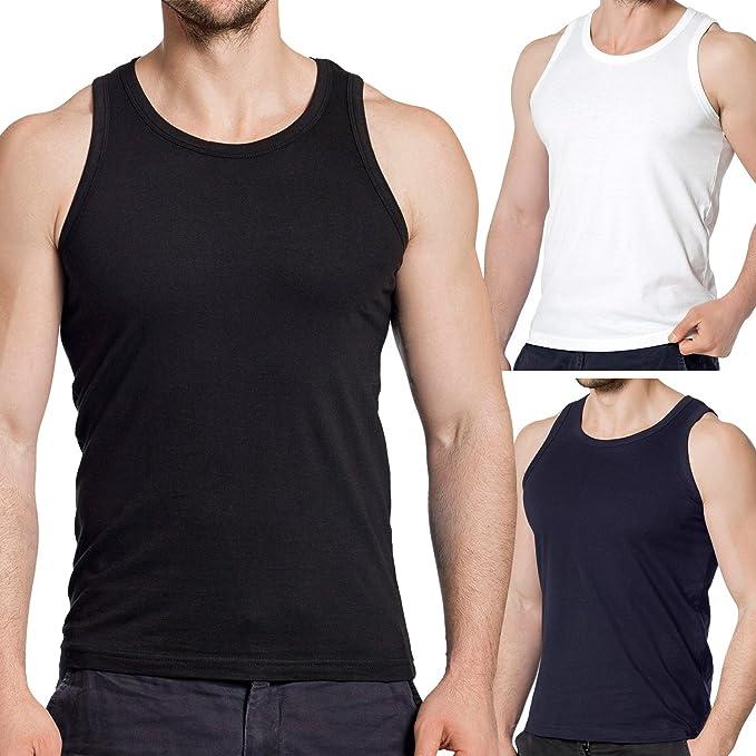 celodoro - Pack de 3 camisetas ajustadas de tirantes para hombre - Para marcar músculos - 3 colores - M: Amazon.es: Ropa y accesorios