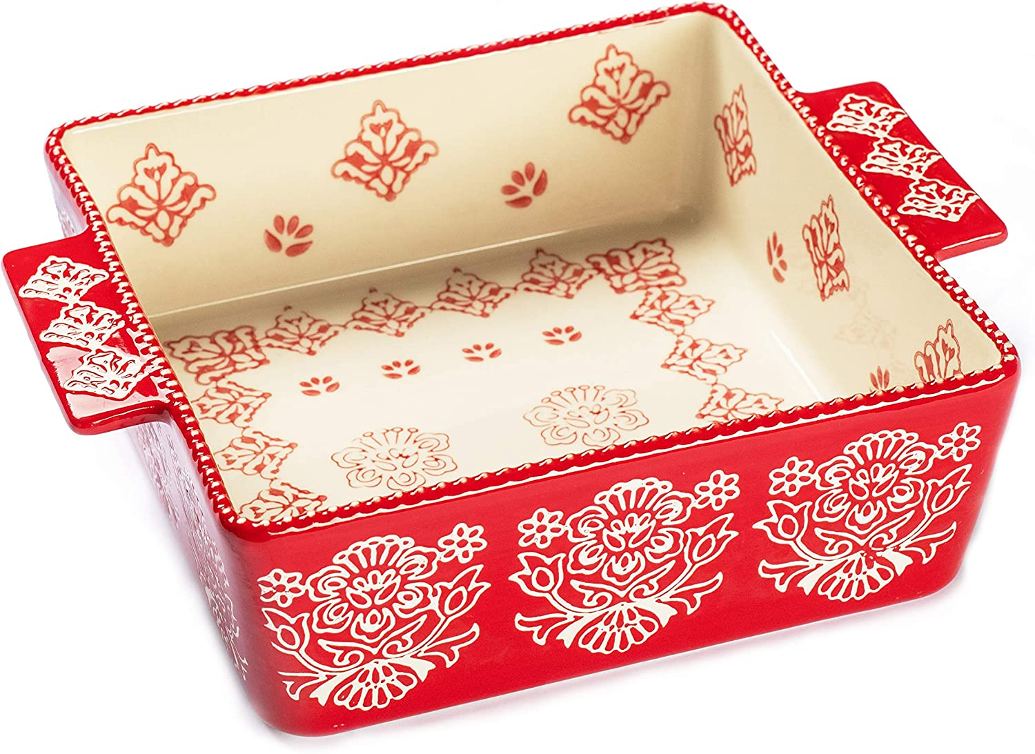 "Oven to Table Square Casserole Dish - 100% Stoneware Ceramic Baking Dishes for Cooking & Serving, 2.3 Quart Lasagna Pan Bakeware is Dishwasher & Microwave Safe - 7.6"" x 7.6"" Cookware Pans"