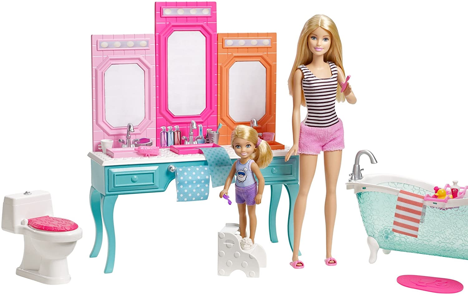 amazon com barbie chelsea bathroom playset toys games rh amazon com
