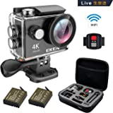 EKEN H9s アクションカメラ 4K LIVE対応 生放送 カメラ ビデオカメラ 「メーカー直販/1年保証付」 ウェアラブルカメラ アクションカム WiFi搭載 長時間バッテリー 充電器 完備アクセサリー(ブラック) 専用ケース ループ録画 防水ケース リモコン付き 1080p60fps キャリングケース梱包