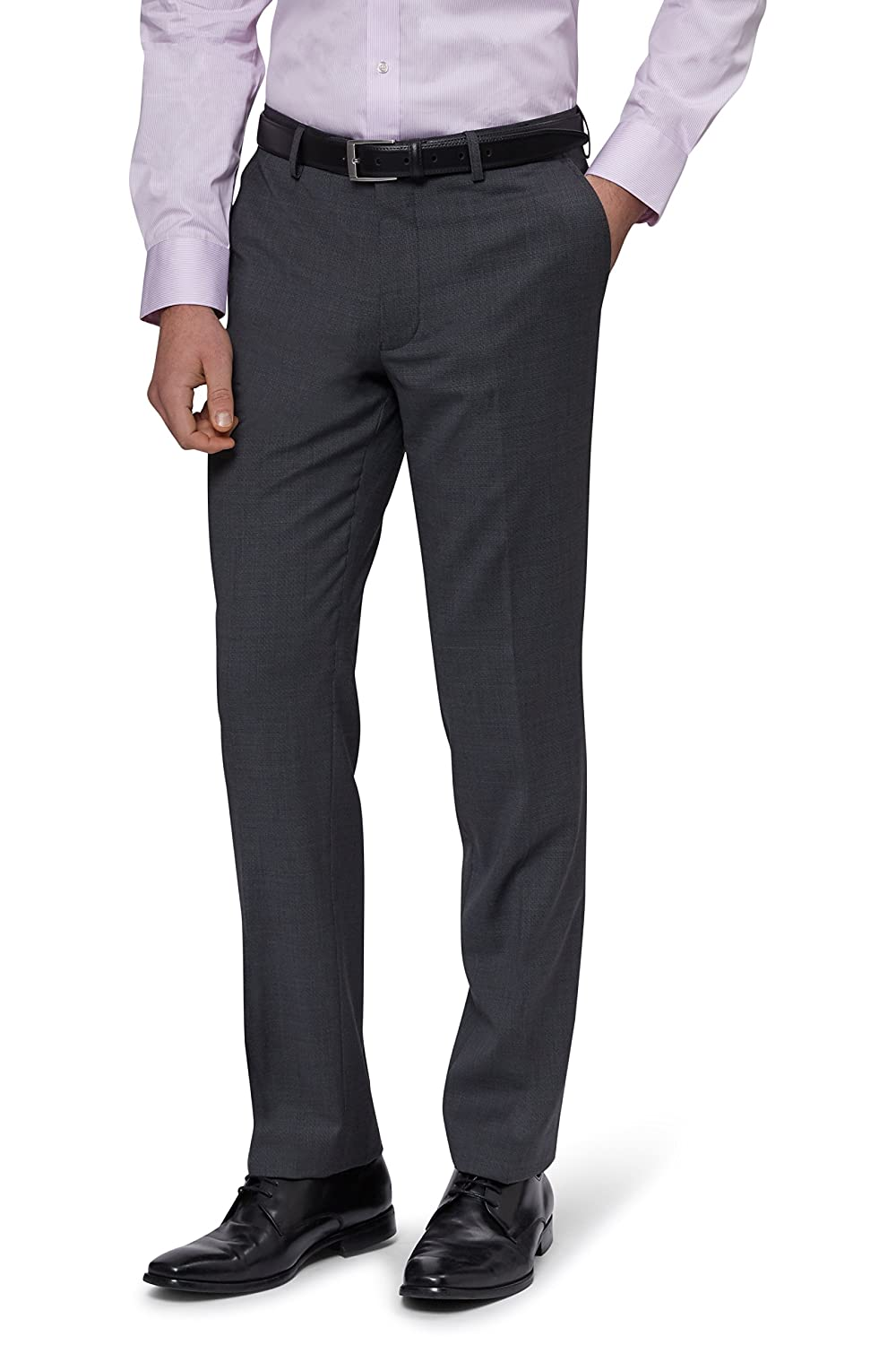 Moss 1851 Tailored Fit Grey Basket Weave Trousers