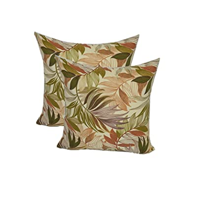 "Resort Spa Home Décor Set of 2 - Indoor/Outdoor Square Decorative Throw/Toss Pillows - White, Tan, Brown, Green, Tropical Palm Leaf - Choose Size (20"" x 20"") : Garden & Outdoor"