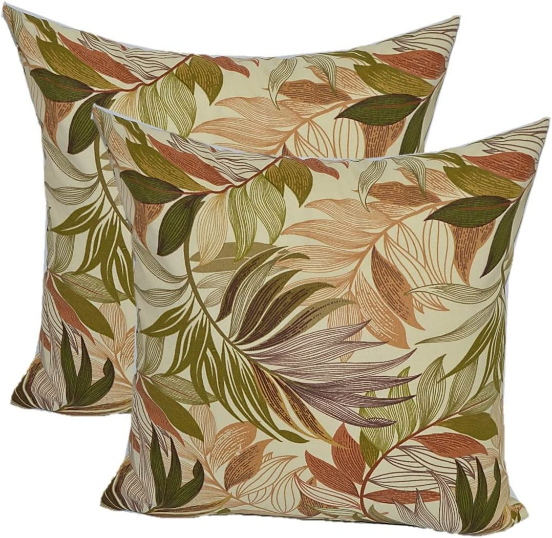 Set of 2 – Indoor Outdoor Square Decorative Throw Toss Pillows – White, Tan, Brown, Green, Tropical Palm Leaf – Choose Size 20 x 20