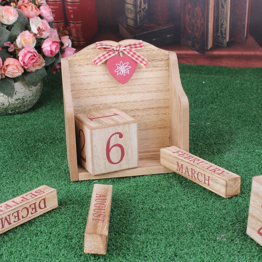 LANGUGU Novelty DIY Wooden Blocks Daily Perpetual Desk Calendar Photography Props Christmas Crafts Home Office Decoration (Pink) by LANGUGU (Image #5)