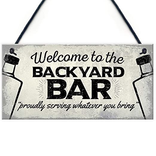 Mr.sign Backyard Bar Cartel de Pared Madera Placa Madera ...