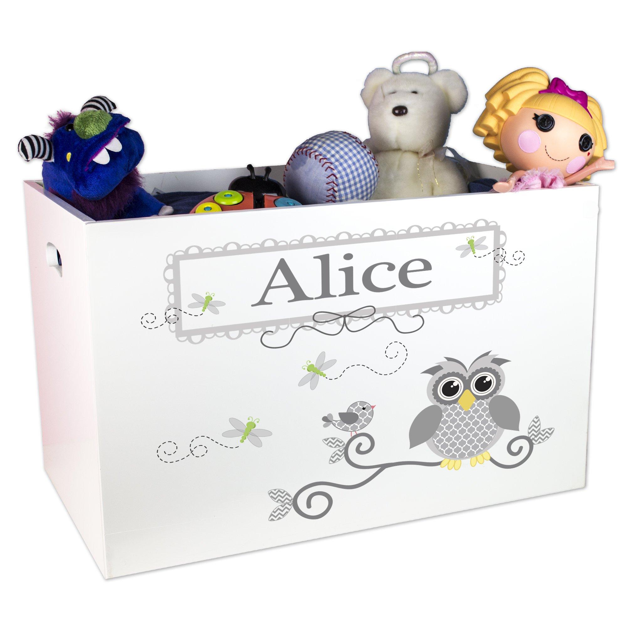 Personalized Boys Gray Owl Toy Box