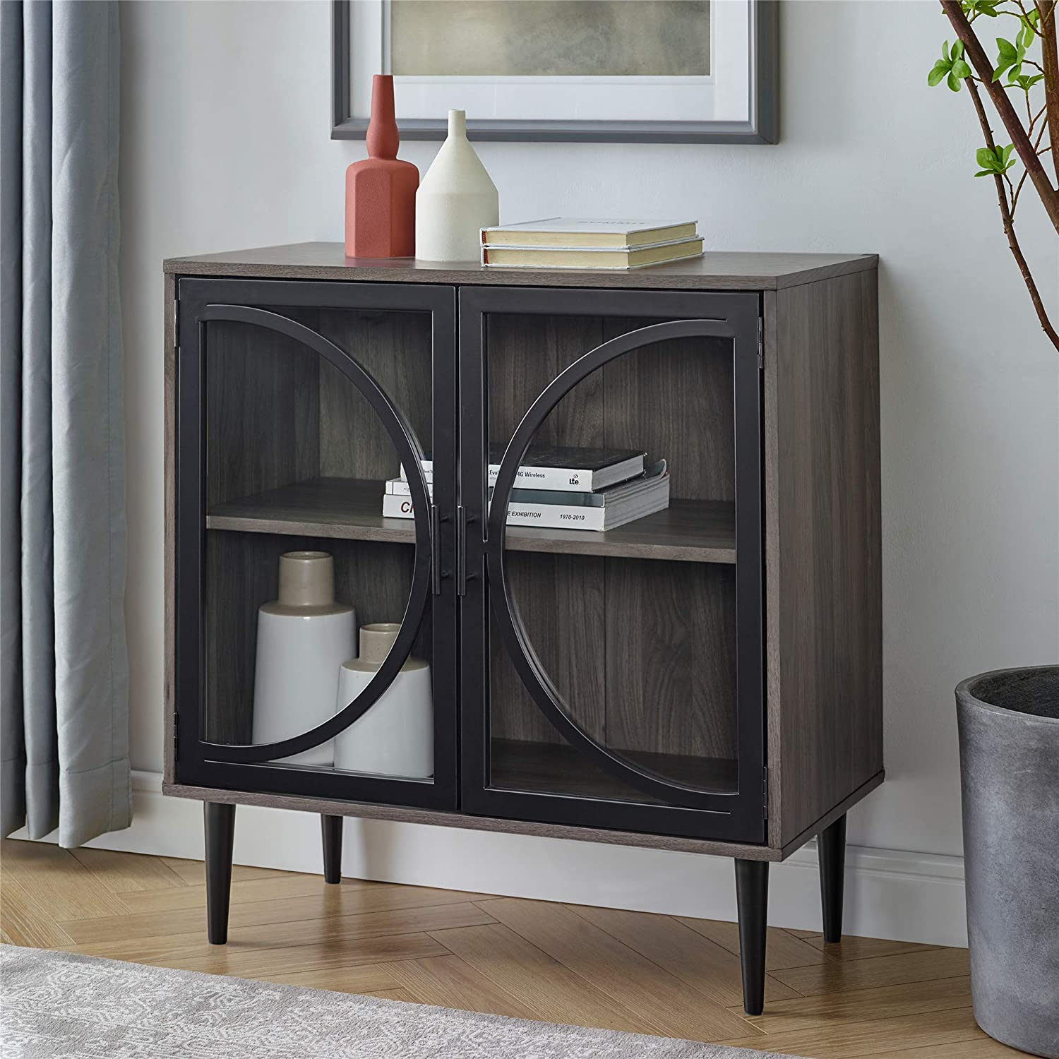 WE Furniture AZF30LOLASG Industrial Metal Wood Buffet and Bar Cart Kitchen Storage Cabinet, 30 Inch, Slate Grey