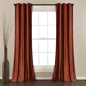 "Lush Decor Prima Velvet Curtains Solid Color Room Darkening Window Panel Set for Living, Dining, Bedroom (Pair), 84"" L, Rust"
