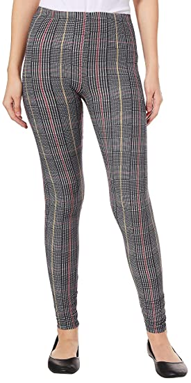 e0d30620a40d5 Derek Heart Juniors Plaid Houndstooth Leggings Small Black Multi at Amazon  Women's Clothing store: