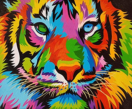 DIY Paint by Numbers for Kids /& Adult /& Beginners DIY Canvas Oil Painting Kit Tiger Drawing Paintwork with Paintbrushes Acrylic Pigment