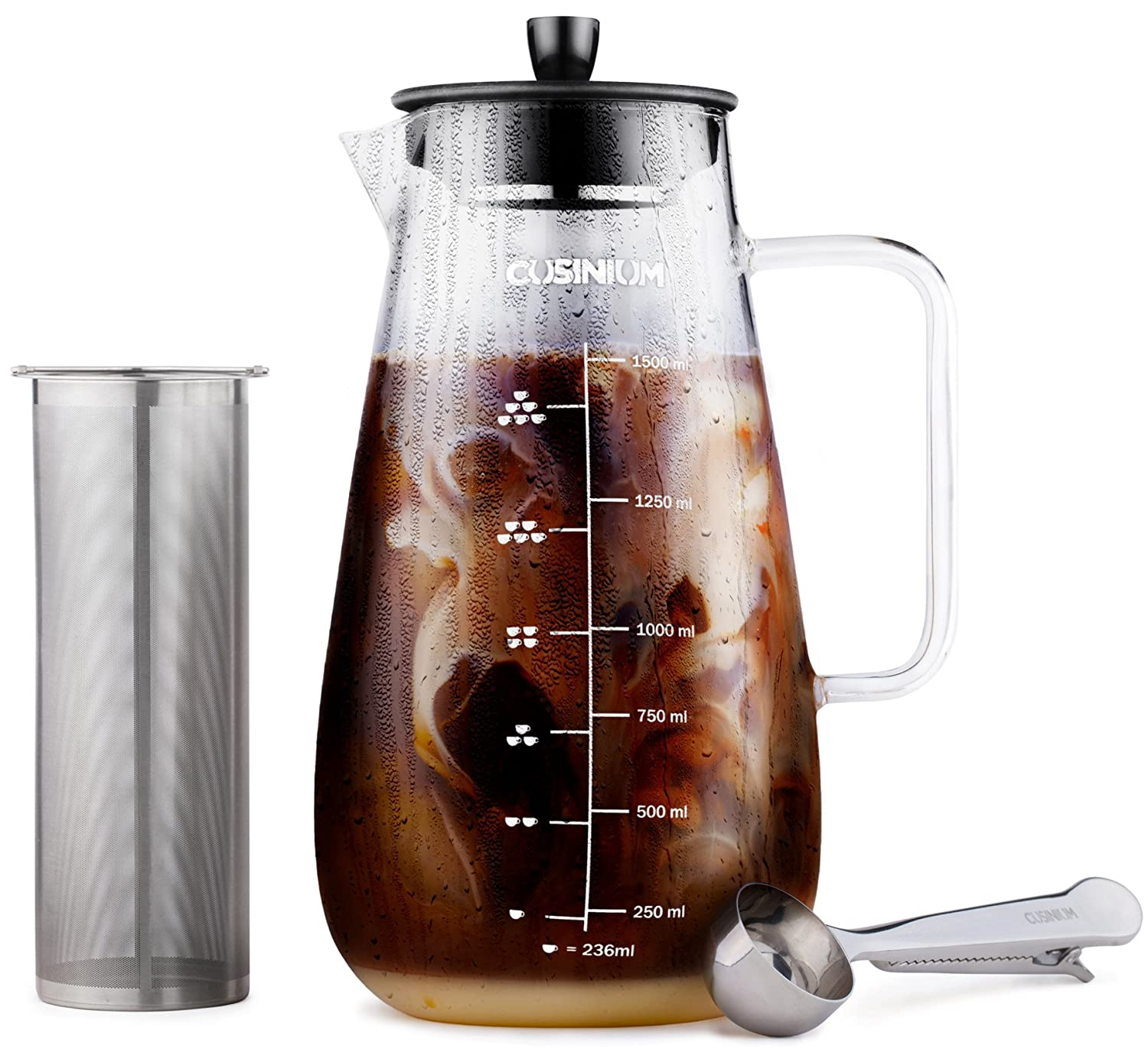 Cold Brew Iced Coffee Maker - 1 Quart Iced Brewed Tea Maker - Glass Coffee Carafe - Fruit infuser pitcher - Includes Scoop & Clip Spoon CUSINIUM A100011000