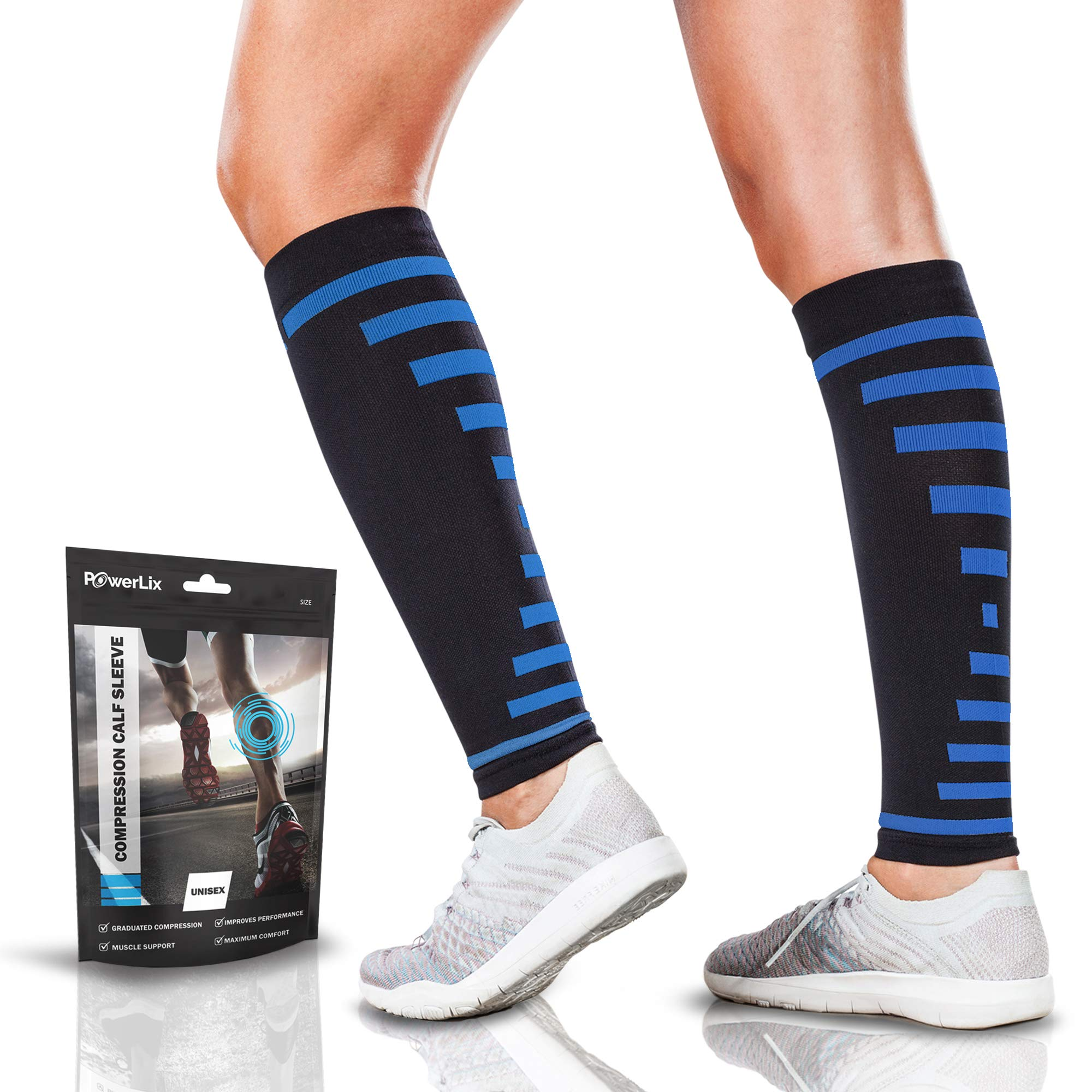 PowerLix Calf Compression Sleeve (Pair) - Supreme Shin Splint Sleeves for Men & Women - Perfect for Your Calves for Running, Ultimate Support for Leg Pain Relief and Recovery - 20-30 mmHg by POWERLIX