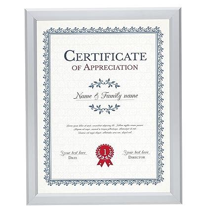 amazon com snapezo certificate frame 8 5x11 inch silver 0 77